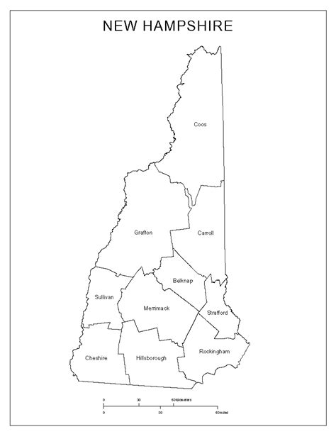 printable new hshire road map new hshire labeled map