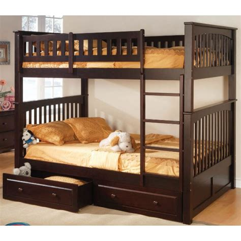 full over full bunk beds full over full bunk bed espresso home pinterest