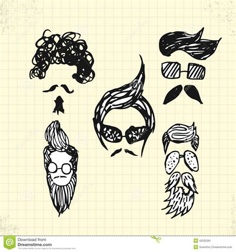 doodle hair vector doodle hair style on paper stock vector image