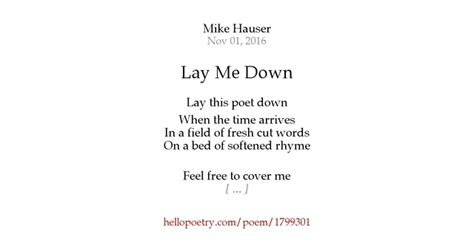 lay me by mike hauser hello poetry