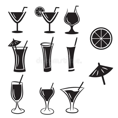 cocktail icon vector set of cocktail vector icons stock vector illustration