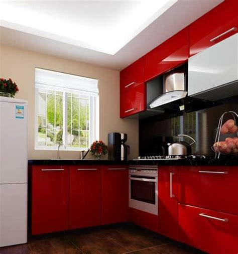red kitchen with white cabinets 3d rendering of red kitchen cabinets interior design