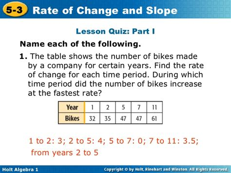 5 3 Rate Of Change Rate Of Change Table