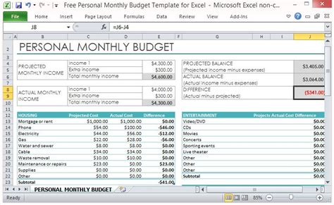 Free Personal Monthly Budget Template For Excel Monthly Expenses Excel Template