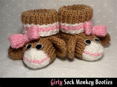 sock monkey booties knitting pattern free girly sock monkey baby booties knitting pattern on luulla