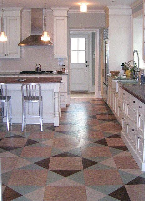 quilt style globus cork floor in kitchen renovation