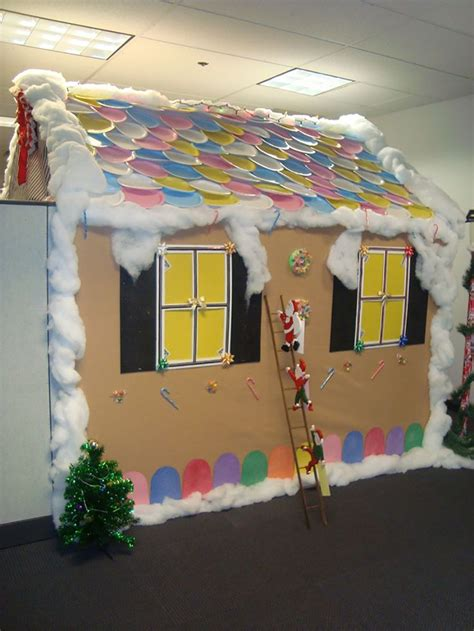 gingerbread house office cubicle decorations impressive cubicles to get you in the spirit shoplet