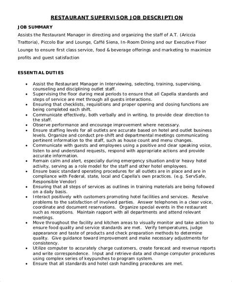operations supervisor job description supervisor job description for