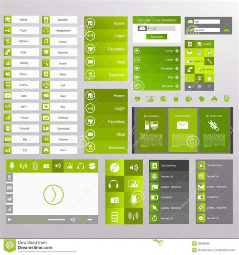 header menu design exles green web design elements buttons icons templates for