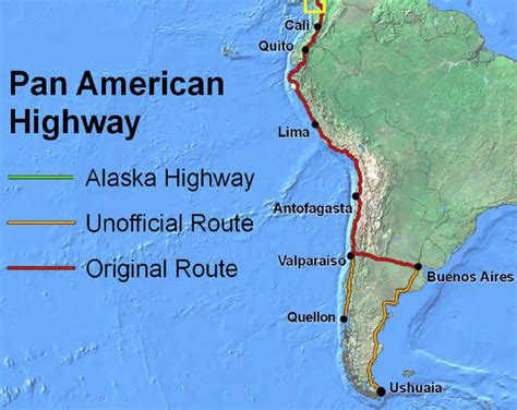 map of the pan american highway cycling the pan american highway