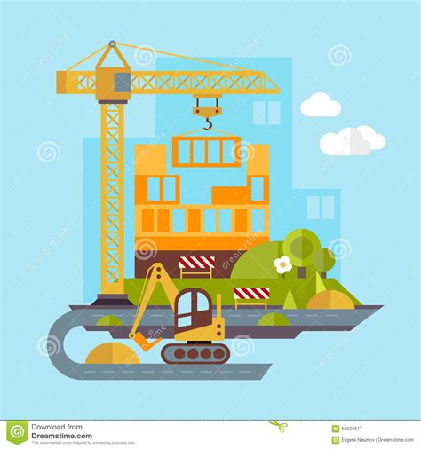 site clipart construction site building flat illustration stock vector