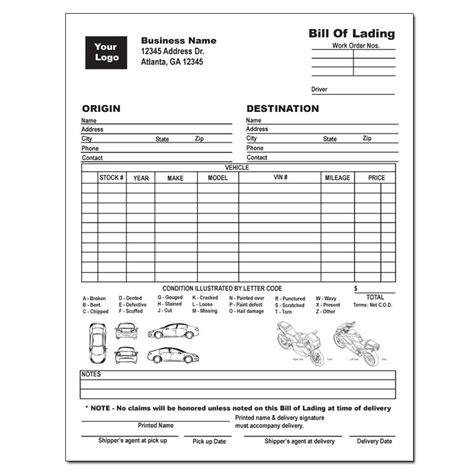 Vehicle Bill Of Lading Designsnprint Auto Transport Bill Of Lading Template Free