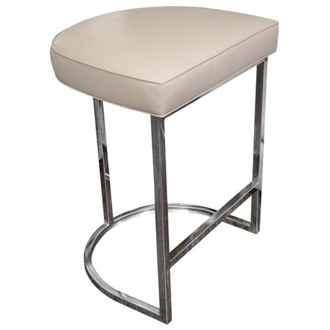 single bench bar stool single bar stool with mirrored stainless steel base at 1stdibs