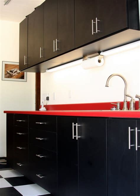 rta melamine garage cabinets black melamine garage cabinets with red formica counter by