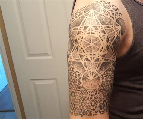 geometric tattoo cube first tattoo dotwork metatron cube with geometric