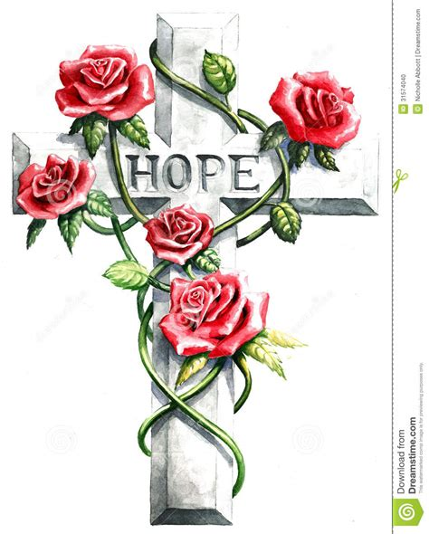 cross with pink red roses and hope text stock photo