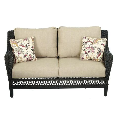 hton bay woodbury all weather wicker patio loveseat