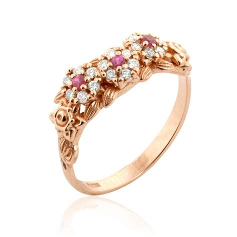 gold engagement ring antique style ruby ring floral