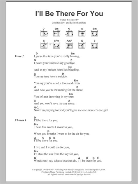 i ll be there for you by bon jovi guitar chords lyrics
