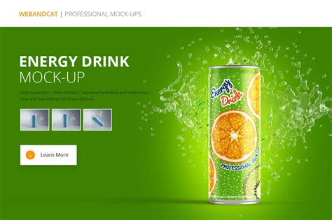 Energy Drink Can Mockup By Webandcat Store On Creative Market Aluminum Beverage Can Can Mock Energy Drink Website Templates