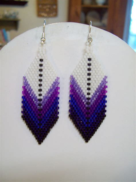 feather beaded earrings american style beaded feather earring purples