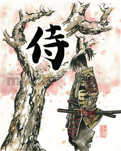 print samurai under sakura cherry blossoms tree 8x10