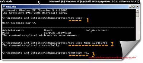 reset password winxp from cmd a useful method to bypass windows xp password in safe mode