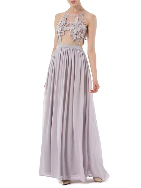 light gray formal dresses cochet lace high waisted formal prom dress in light gray l