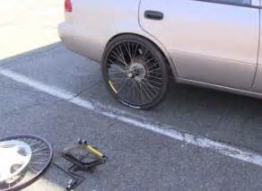 Car Tire On Bicycle Flat Tire On Your Car Just Mount Up A Spare Bicycle Wheel
