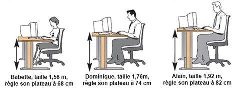 bureau r馮lable en hauteur ergonomique taille d un bureau 28 images r 233 glage des chaises