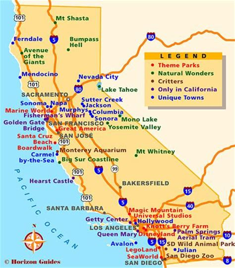 california map destinations trips san francisco and places on