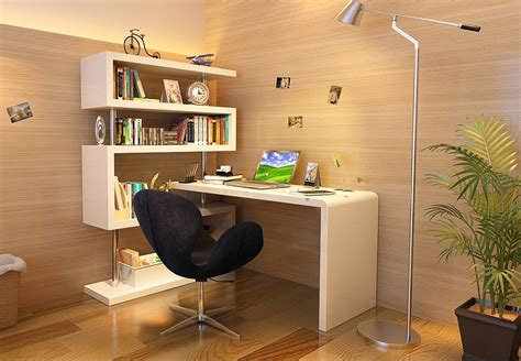 Modern Style KD02 White Office Desk with Tall Shelves   J&M Furniture