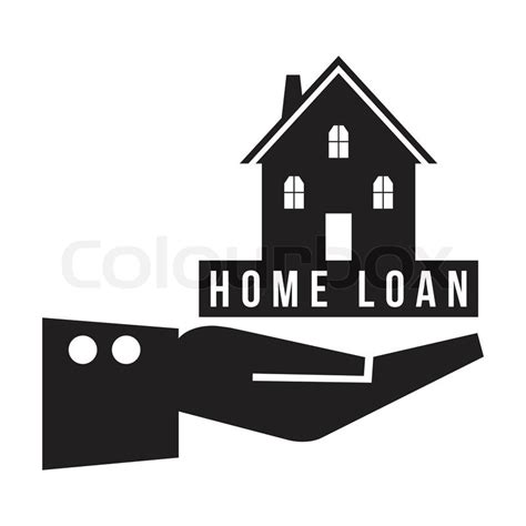 home loan for constructed house house in hand with home loan concept vector format stock vector