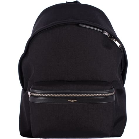 Laurent Backpack laurent black canvas leather and quot quot backpack in black for lyst