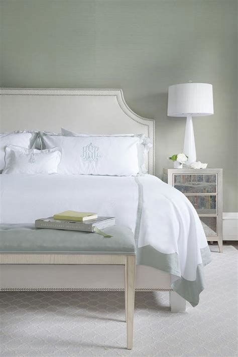 White And Mirrored Nightstand White And Gray Bedroom With Gray Monogram Shams Transitional Bedroom