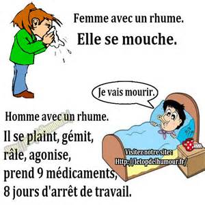 homme femme malade lit rhume humour blague