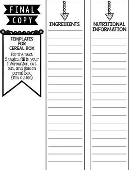 Cereal Box Book Report By Kristina Lovell Teachers Pay Teachers Cereal Box Book Report Template