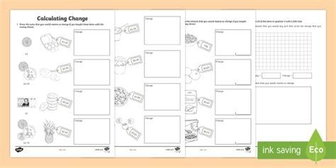 Calculating Change Ks1 Worksheet