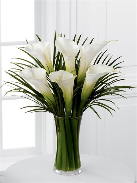 Lilies In A Vase by Luxury White Calla Palm Vase