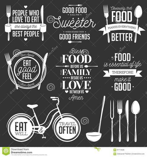 Wall Stickers Space set of vintage food related typographic quotes stock