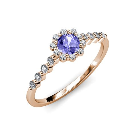 tanzanite floral halo engagement ring 1 05 ct tw - Tanzanite Engagement Rings