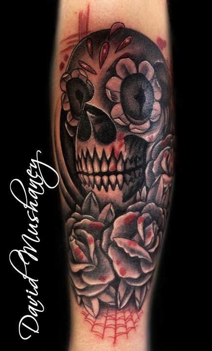 black rose and skull tattoo david mushaney tattoos tattoos half sleeve black and