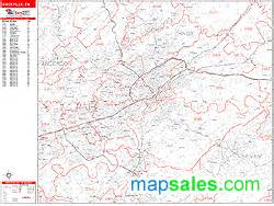 Knoxville Zip Code Map by Knoxville Tennessee Zip Code Wall Map Red Line Style By