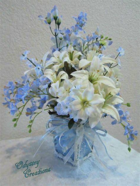 Flowers Arrangement Light Blue White Floral Arrangement