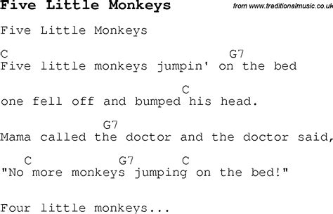 5 monkeys jumping on the bed lyrics monkey nursery rhymes lyrics images