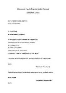 electronic funds transfer letter format mandate form