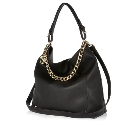 Slouch Bag by River Island Black Chain Trim Slouch Bag In Black Lyst