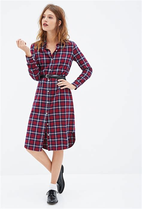 paid dress forever 21 plaid flannel shirt dress in blue lyst
