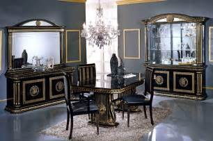 Classic Italian Dining Room Furniture Versace Style Italian High Gloss Dining Extending Table With 6 Fabric Chairs Ebay