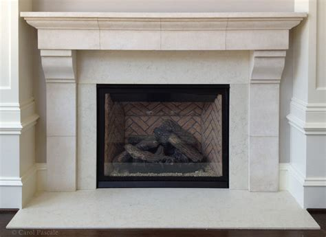 limestone fireplace mantel traditional